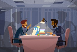Two Angry Business Man Agruing Talking, Businessmen Chat Sitting Office Desk Concept Communication Problem Flat Vector Illustration