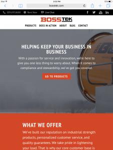 BossTek - Tablet - Home Page