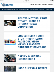 Driven Public Relations - Tablet - Our Work Page